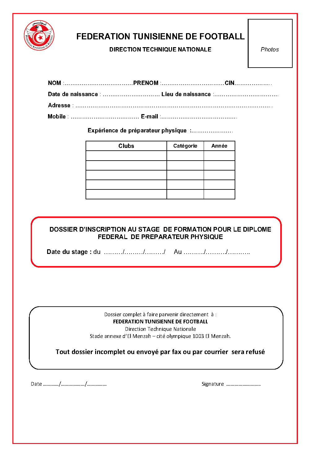 Preparateur physique-Inscription