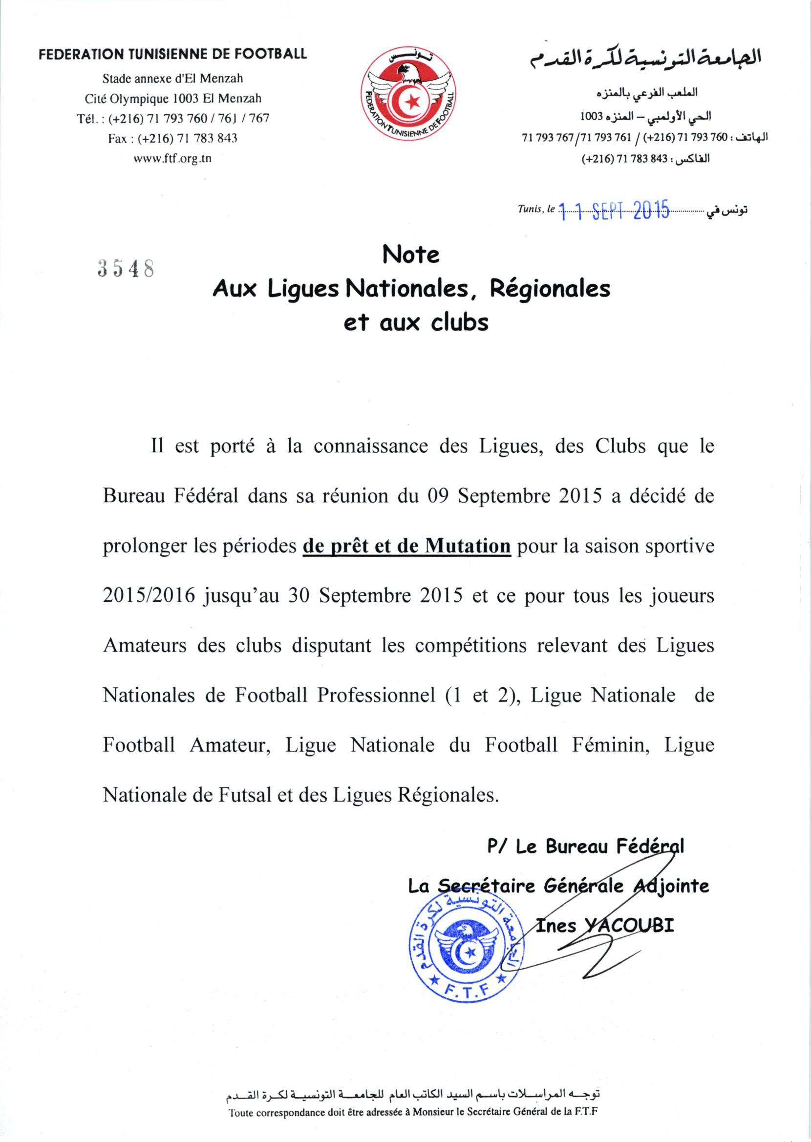 Note aux Ligues Nationales, Régionales et aux Clubs