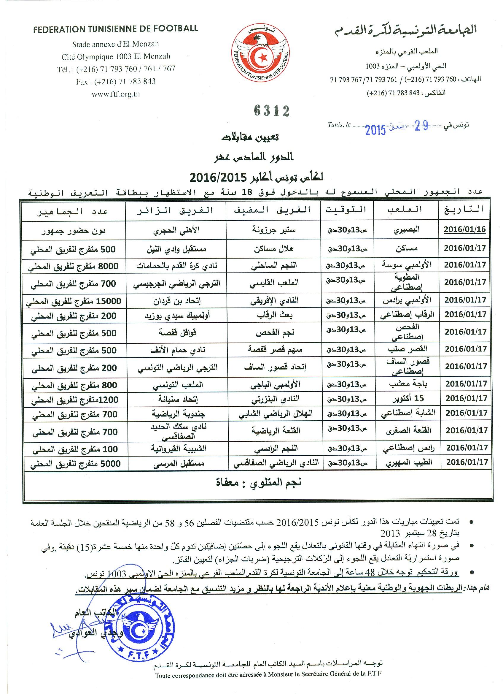Designation Des Matches Des 1 16eme Coupe De Tunisie 2015
