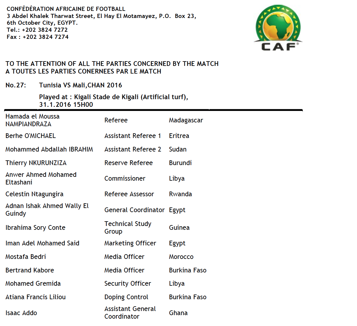 CHAN 2016 - TUNISIE vs MALI --- Officiels du Match