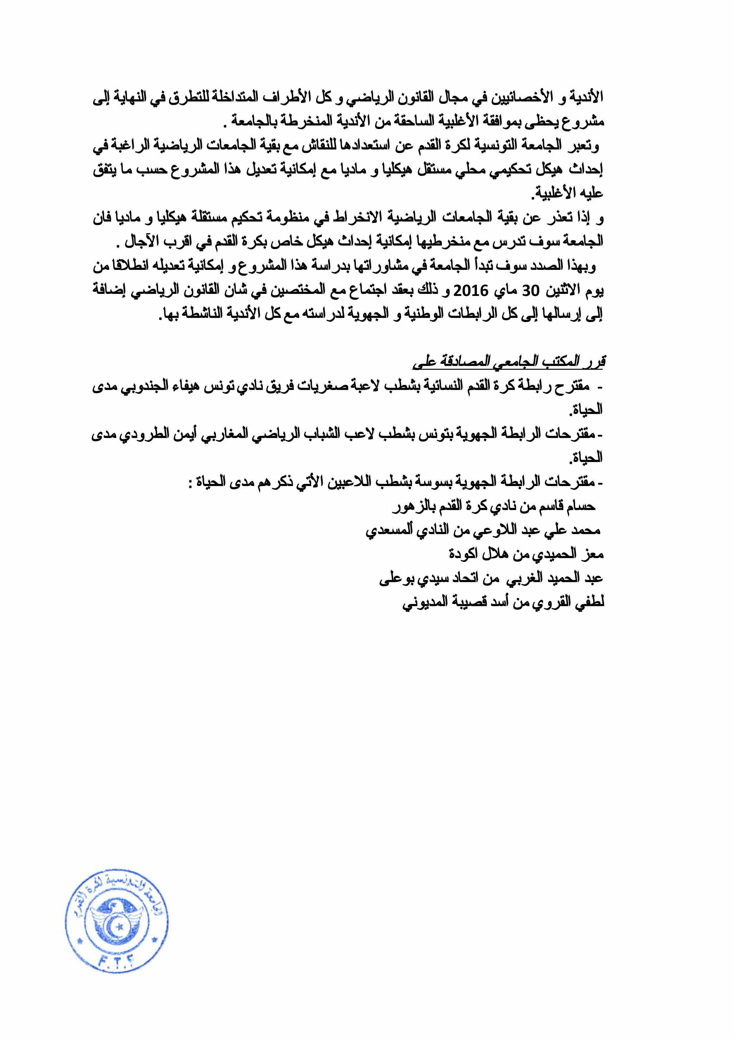 Compte rendu de la réunion du bureau fédéral 27-5-2016-4