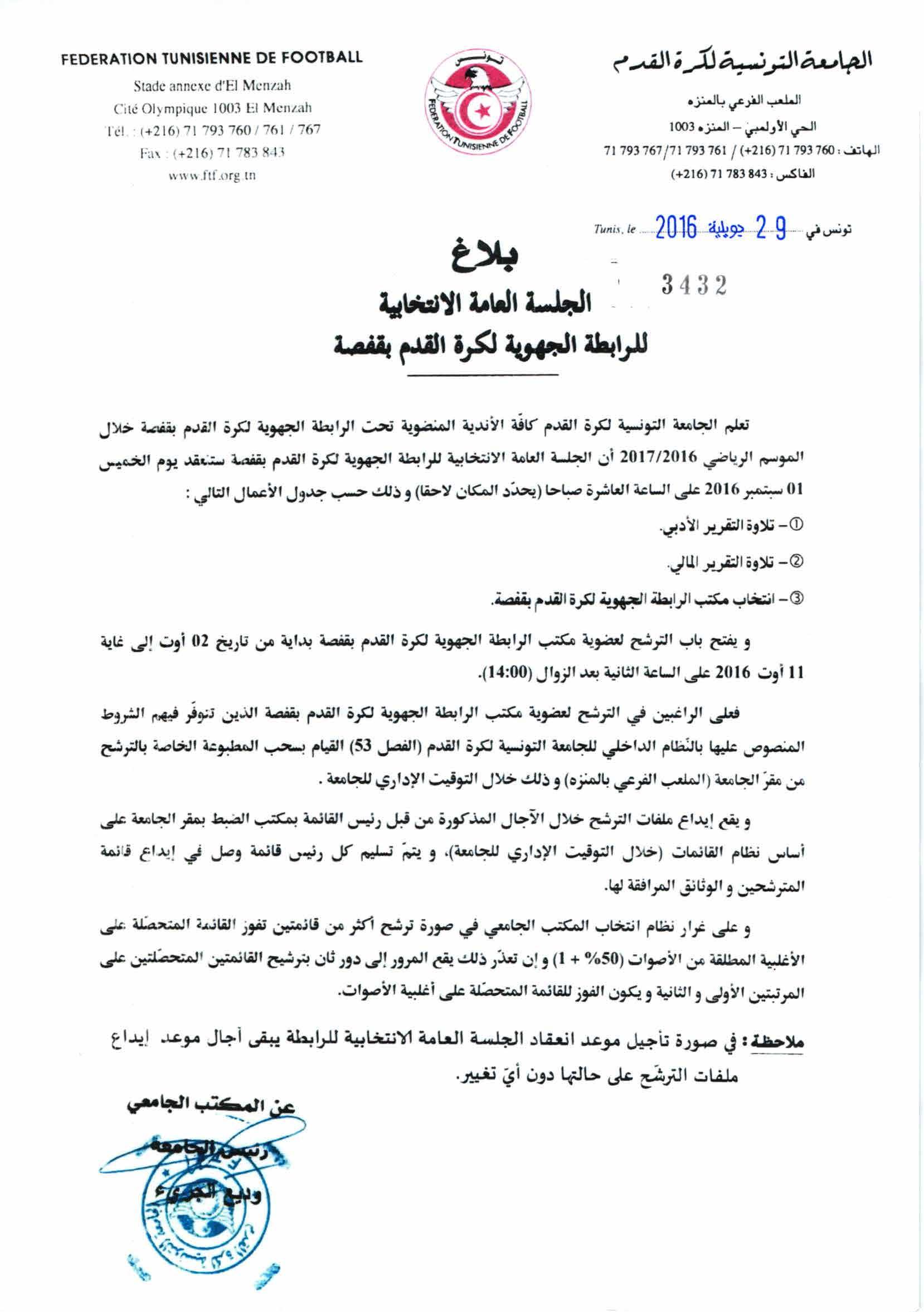 Elections Ligue Gafsa