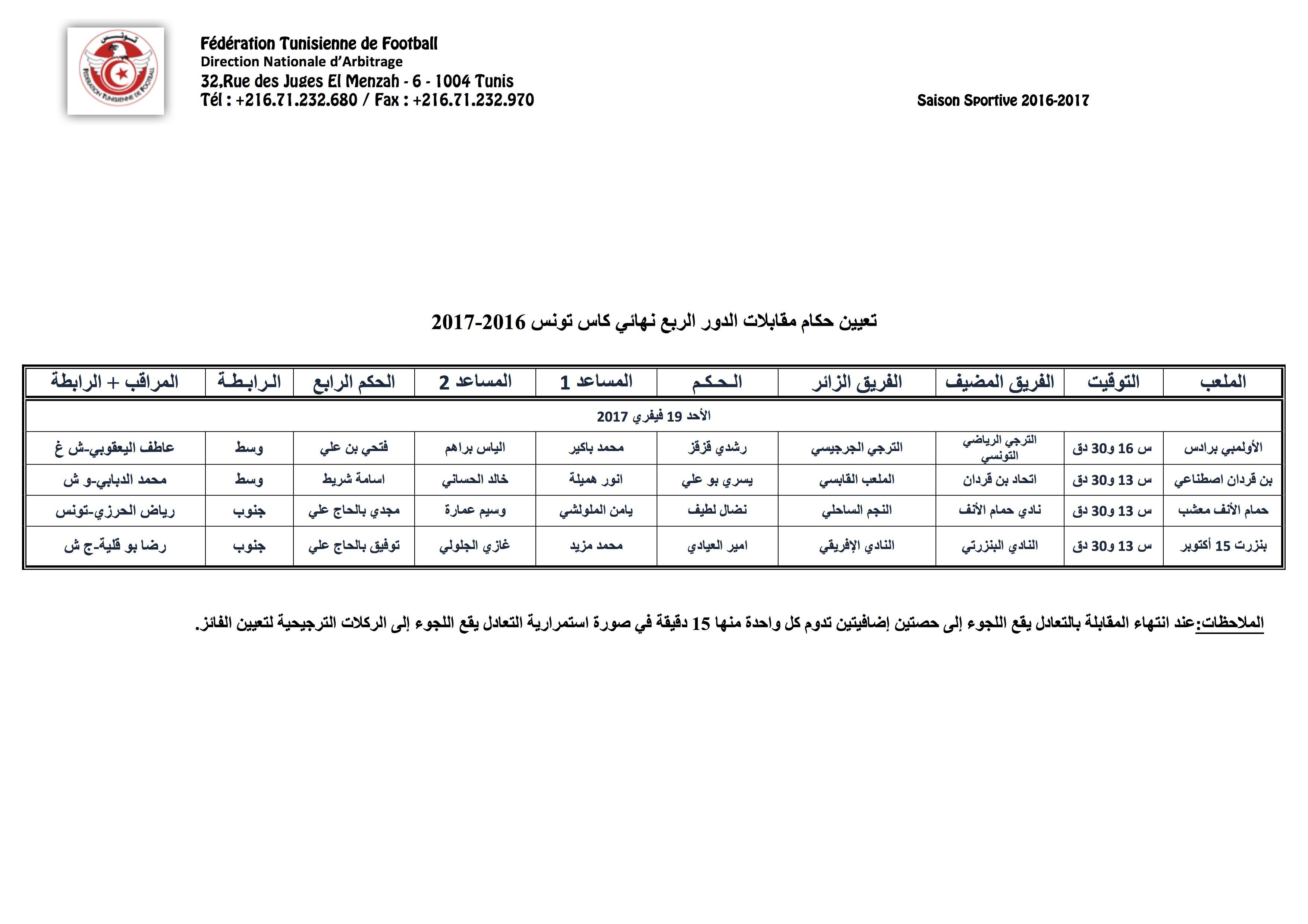 Arbitres Quarts de finales coupe de tunisie