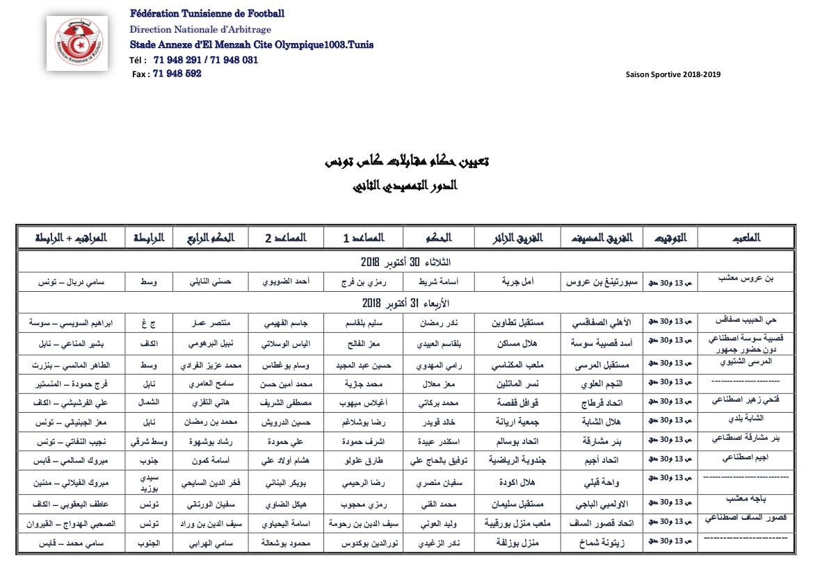Designation Des Arbitres Coupe De Tunisie T2 Federation